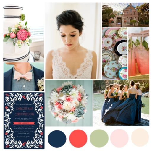 Navy ,Coral, sage, blush, and ivory colors