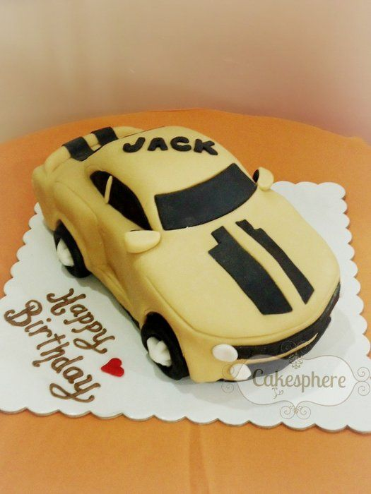 Camaro chocolate cake iced with buttercream and fondant icing.