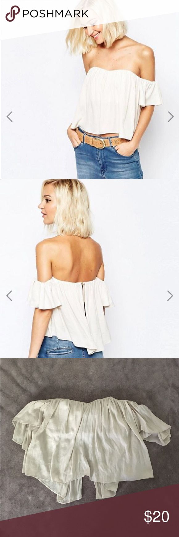 River Island Lace Bardot Top Cream US 4 bought it new worn once River Island Tops Crop Tops