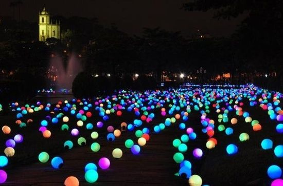 put glow sticks in a balloon and put them all over your yard...great idea for a summer party. its kind of like an obstacle courseNEED TO DO