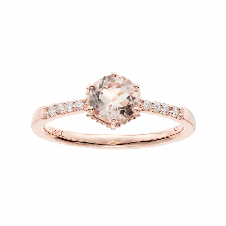 LC Lauren Conrad 10k Rose Gold Morganite & 1/10 Carat T.W. Diamond Ring, Women's, Size: 9, Pink