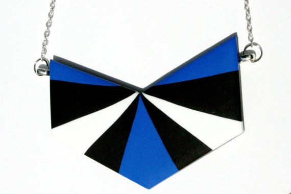 Chevron Necklace in Electric Blue Black and White by kitedesign