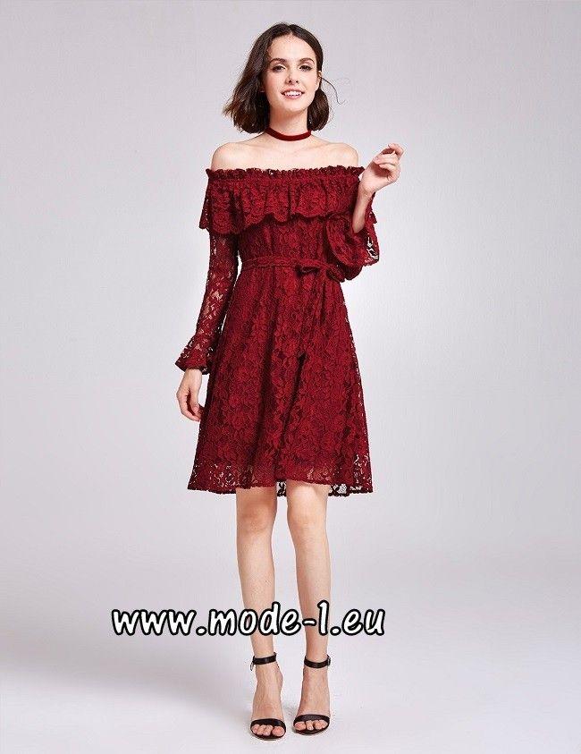 Schulterfreies Damen Kleid mit Spitze in Rot