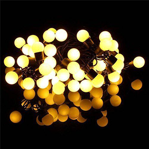 SOLMORE 5M Cadena de Bola Guirnalda luminosa 50 Bombilla LED Decoración de Navidad / partido / tarde / de la boda / aniversario / Casa / Restaurante / Césped / Jardín / Exterior / Interior 220V blanco cálido