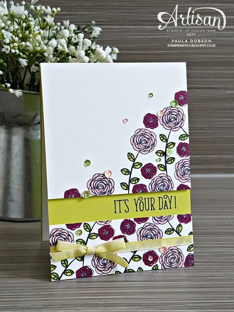 Add interest to an otherwise single layer card by splitting your card panel and stamping the sentiment in the gap, featuring the Happy Birthday Gorgeous bundle of products - Paula Dobson #pauladobson #stampinantics #stamptoshare #happybirthdaygorgeousbundle