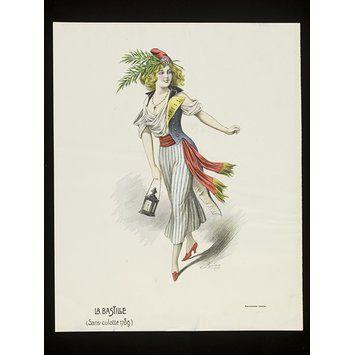 Colour lithograph - La Bastille (Sans-culotte 1789)