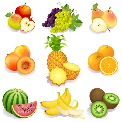 Realistic fruits icons vector material 03…