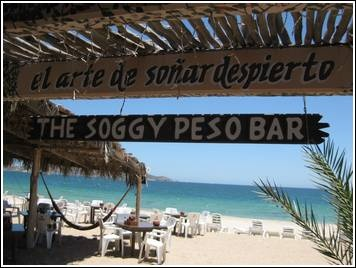 Soggy Peso Bar in San Carlos, Mexico. This place is so fun. Hammocks on the beach.