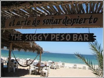 Soggy Peso Bar in San Carlos, Mexico. This place is so fun. Hammocks on the beach.