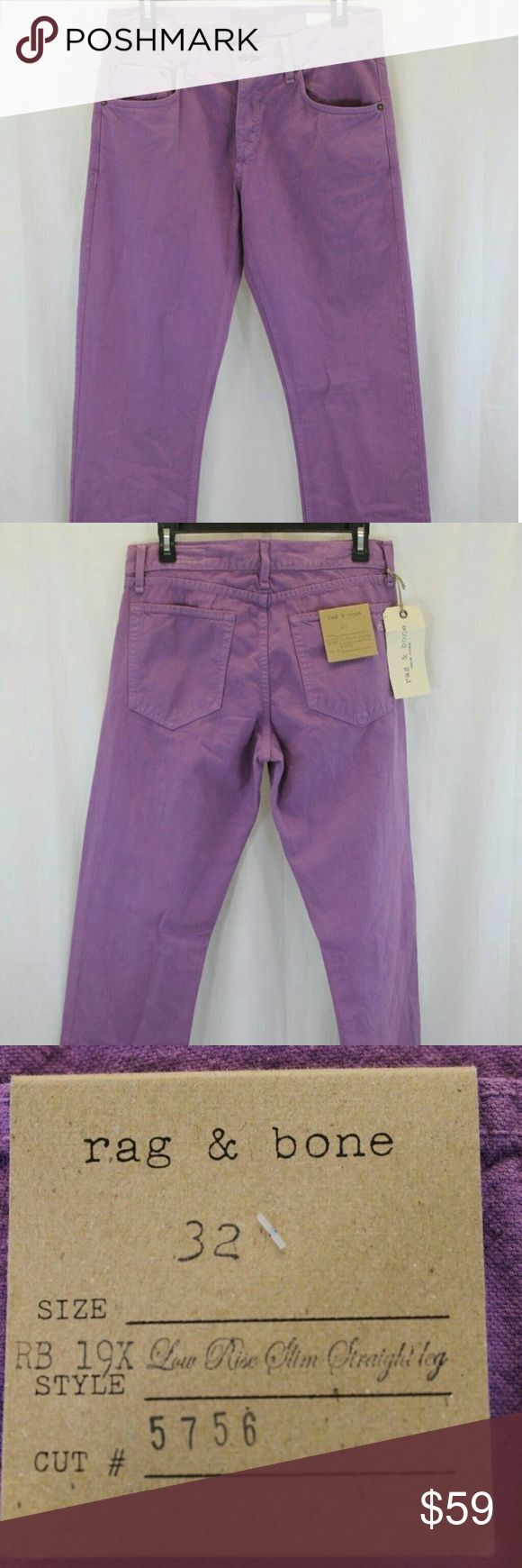 """WOMENS RAG & BONE VIOLET LOW RISE JEANS 32 NWT Measurements (we physically measured this item)  Waist:                                   32"""" Inseam:34"""" Length:45"""" Condition:LOW RISE - SLIM FIT STRAIGHT LEG 100% COTTON  NEW WITH TAGS. SOURCED DIRECTLY FROM A MAJOR US RETAILER. rag & bone Jeans Skinny"""