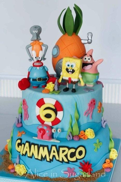 how to make a spongebob cake with fondant