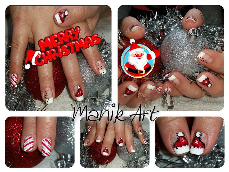 #christmas #nailart #red #candycane #white #noel #rouge #original #design