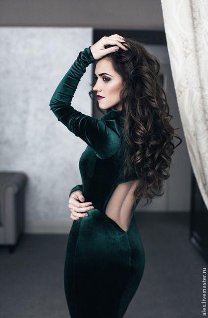 """Платья ручной работы. Ярмарка Мастеров - ручная работа. Купить Платье """"Малифисента"""". Handmade. Бархат, волшебство, тёмно-зелёный"""