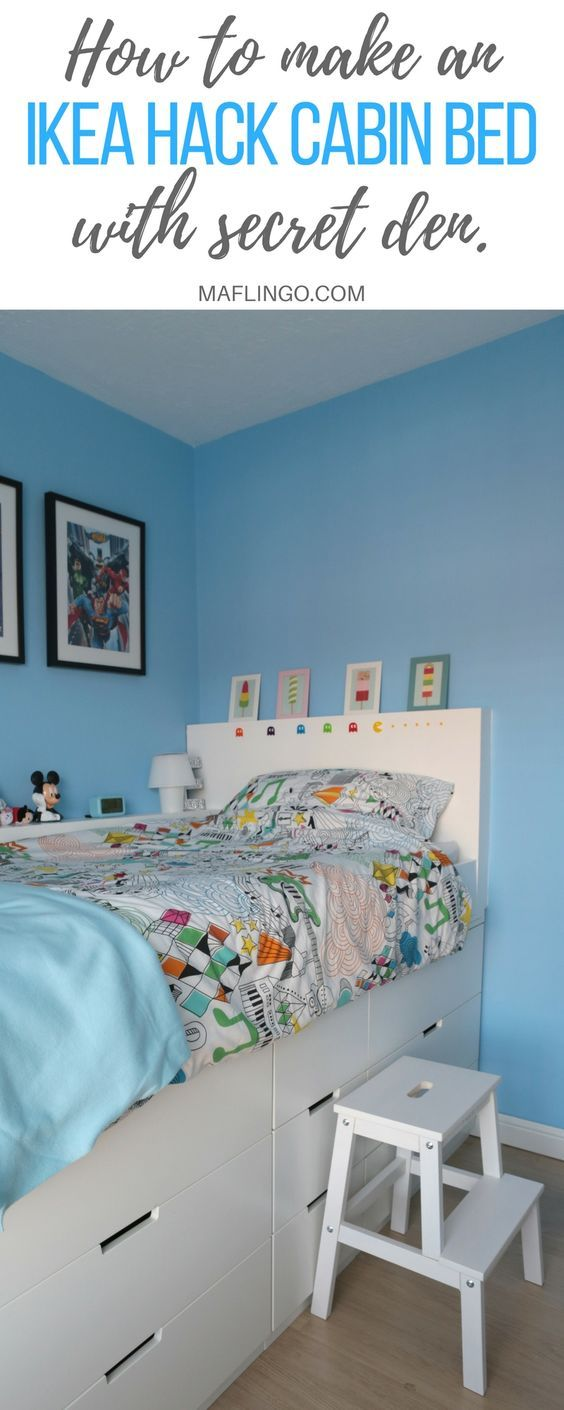 Step-by-Step Tutorial of how to maximise space with a space-saving Ikea Hack Children's Cabin bed using Ikea Nordli Chest of Drawers. The best thing about this build is the SECRET DEN