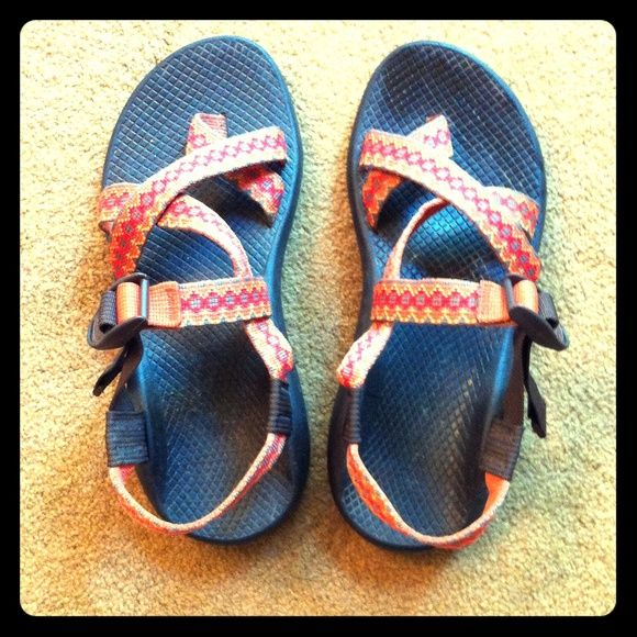 Women's Chaco Sandals Women's 9range, Red, and Brown Chaco's with adjustable straps Chacos Shoes Sandals