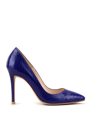 Piga Classic Pointed Toe Pumps Iris Blue Python   Women's Custom Made Shoes, Small Size Shoes - Yoomstreet#yoomstreet#pumps#trend#fashion#blue#shoes