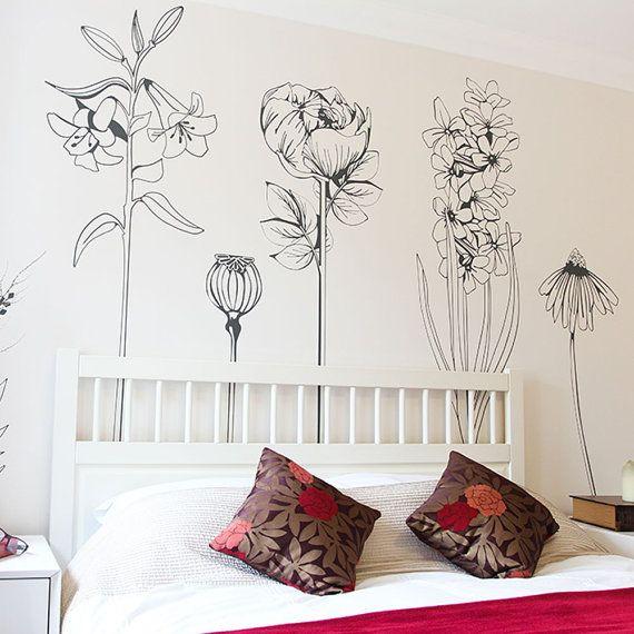 Large decorative vinyl flower wall sticker decals | Dcor ...