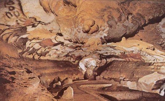 "Cro-Magnon peoples, Cave at Lascaux, France, ""Hall of Bulls"","