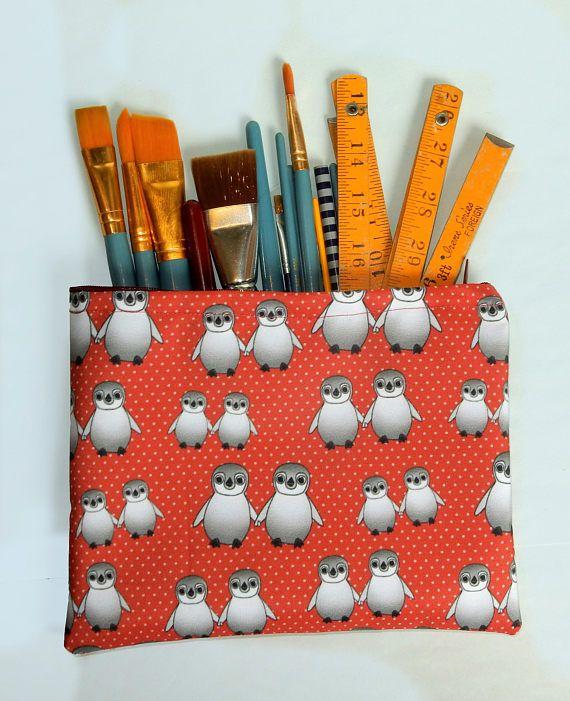 Red penguin pencil case  polka dot zip pouch  waterproof