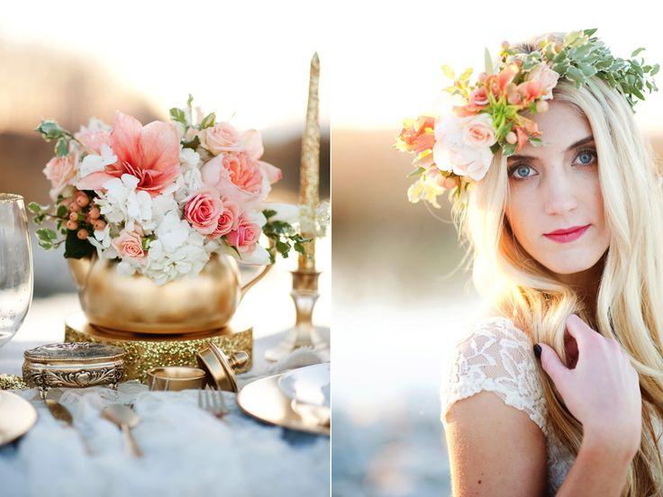peach gold wedding centerpieces peach gold wedding inspiration romantic peach flower halo www.calierose.com