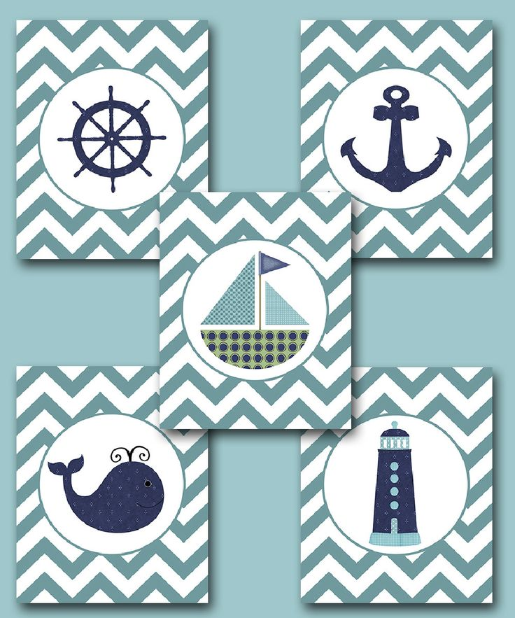 "Sea Nautical Ship Baby Boy Nursery Art Nursery wall art baby nursery kids room decor Kids Art Boy Print set of 5 8""x10"" whale nursery blue. $70.00, via Etsy."