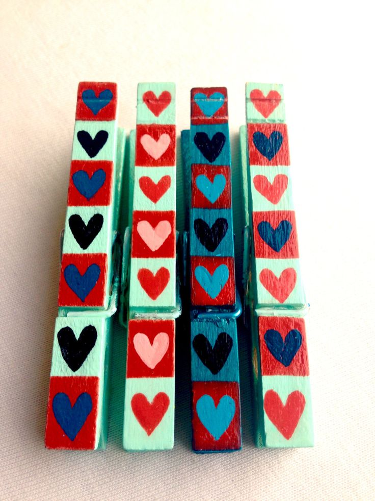 HEARTS Clothespin hand painted magnetic pegs red and aqua by SugarAndPaint on Etsy
