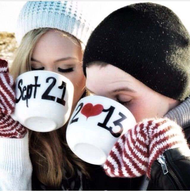 GAH! Love this. sipping from mugs to announce the date @Michelle