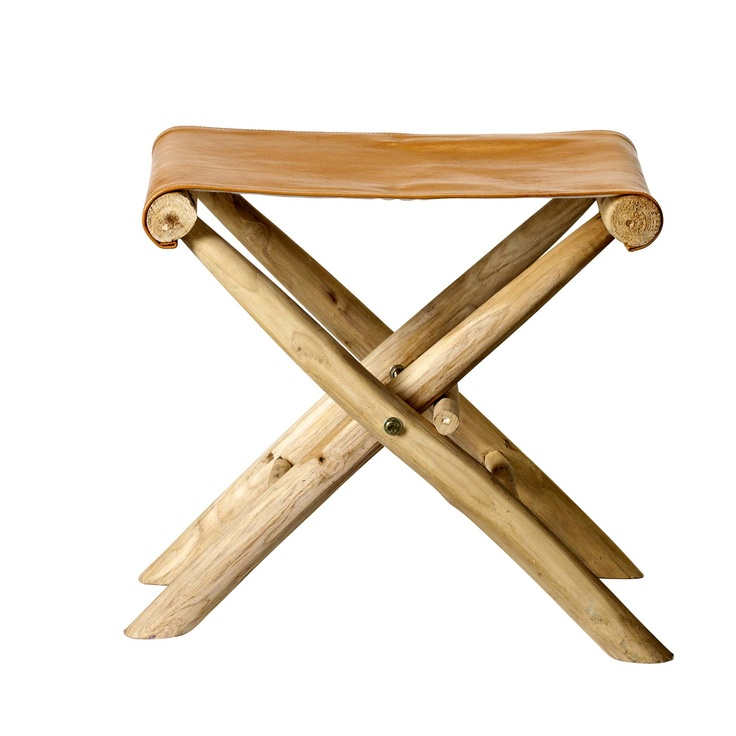 fab stool from Bloomingville. natural wood with leather <3