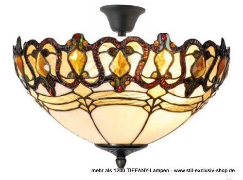 EXTRA Modell! ø 39cm. Klassische TIFFANY Decken Lampe (mit Abstand), Unsere  Umfangeiche Serie CECILE. Ca. 29 Cm Hoch, 39 Cm ø, 2 X E 14, Je Max.