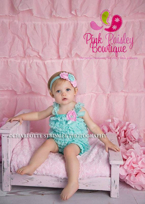 Lace Petti Romper - 3 pc SET- Aqua & Pink Petti Romper- Ruffle Romper -Baby Girl Rompers -Ruffle Rompers - 1st Birthday Outfit - Baby Romper  by Pinkpaisleybowtique, $34.99