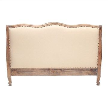 Souvigny Hand Crafted Mahogany Upholstered King Size Bedhead - Weathered Oak Finish