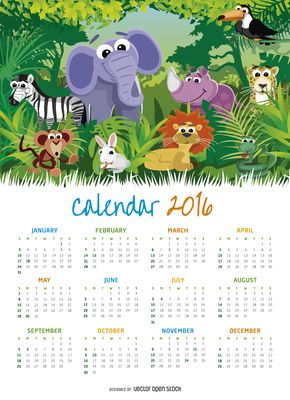 Niños Animal 2016 calendario