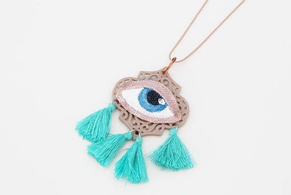 Blue Evil Eye Necklace  Hand Painted OOAK Evil Eye Mint