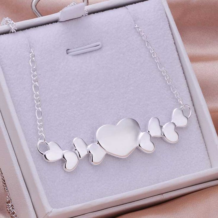 Hot Sale!!Free Shipping 925 Silver Necklace,Fashion Sterling Silver Jewelry Multi Hearts Necklace SMTN275