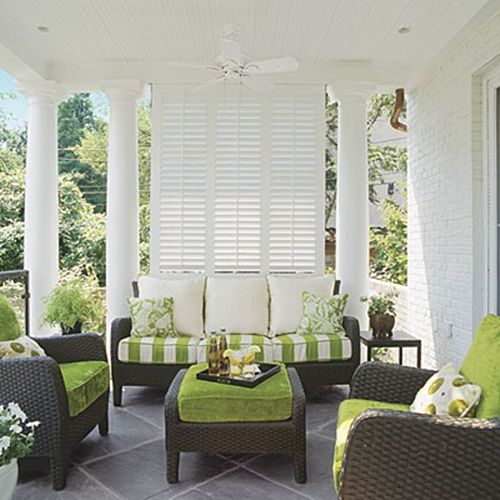 I absolutely love this furniture and the color of course!!: Gardens Ideas, Southern Living, Porches Decor, Outdoor Living, Color, Southern Porches, Patio, Outdoor Spaces, Front Porches