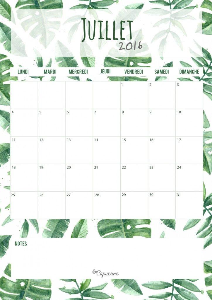 Calendrier juillet 2016 La Capuciine                                                                                                                                                                                 Plus
