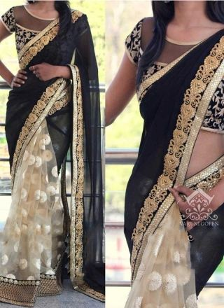 Black Beige Embroidery Work Georgette Net Raw Silk Wedding Sarees http://www.angelnx.com/Sarees