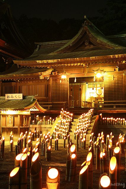 Bamboo Lantern event at Miyajidake Shrine, Fukuoka. Photo by tomosang R32m