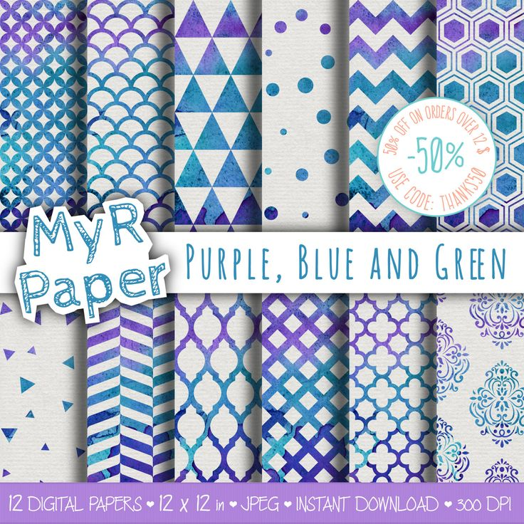 "Watercolor Digital Paper: ""Purple, Blue and Green"" for scrapbooking, invite, card – damask, triangles, dots, chevron, hexagons di MyRpaper su Etsy"