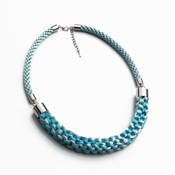 Turquoise and light blue knotted rope statement by SophiesKnotShop