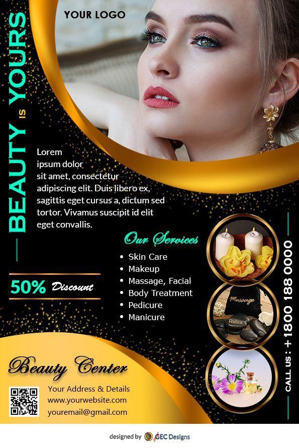 Golden Beauty Salon Flyer Design Golden Beauty Salon Flyer Template Is A Good Looking Modern Free Fly Beauty Salon Posters Beauty Flyer Ideas Beauty Salon