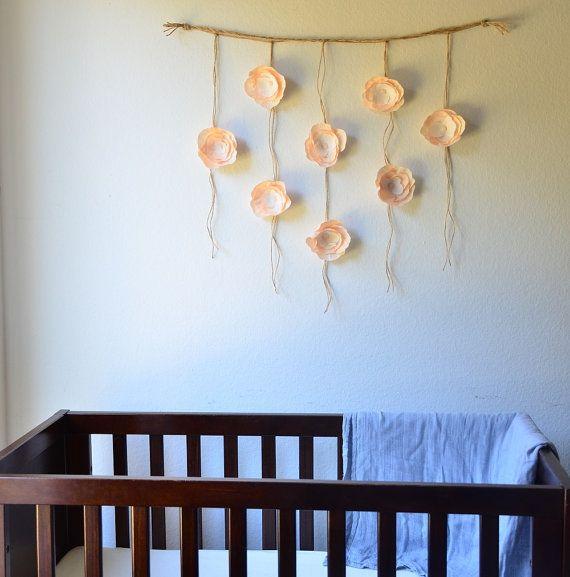 Boho Paper Flower Wall Hanging-Nursery Wall Decor-Dorm Wall Hanging-Flower Wall Hanging-Paper Flower Art