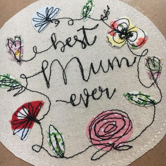 Beautiful Floral Card with raw edge appliqué flowers finished with free motion machine embroidery. 13.5cm square, made in either Kraft Brown card or bright white card with matching envelope. Left blank inside for your own personal message. These cards look fabulous framed, add a