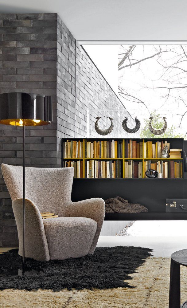 Living Room | Lounge Chair by Fireplace | Molteni | Mandrague Chair | PROJECT | False Creek