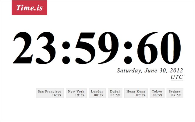 Leap Second Scheduled for June 30, 2012