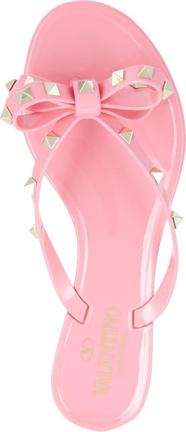 VALENTINO - Rockstud studded bow flip-flops | Selfridges.com