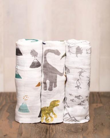 Cotton Muslin Swaddle Blanket Set - Dino Friends // dinosaur theme // baby boy // modern baby //