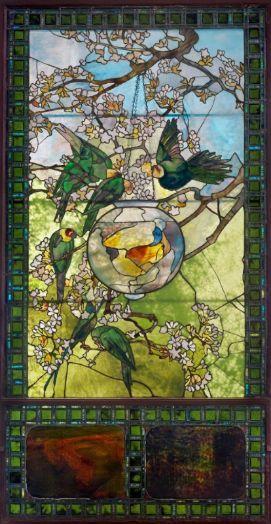 """Parakeets and Gold Fish"" Louis Comfort Tiffany, 1893: Louis Comforter Tiffany, Gold Fish Bowls, Tiffany Glasses, Glasses Art, Glasses Beautiful, Tiffany Stained Glass, Glasses Window, Goldfish, Stained Glasses"