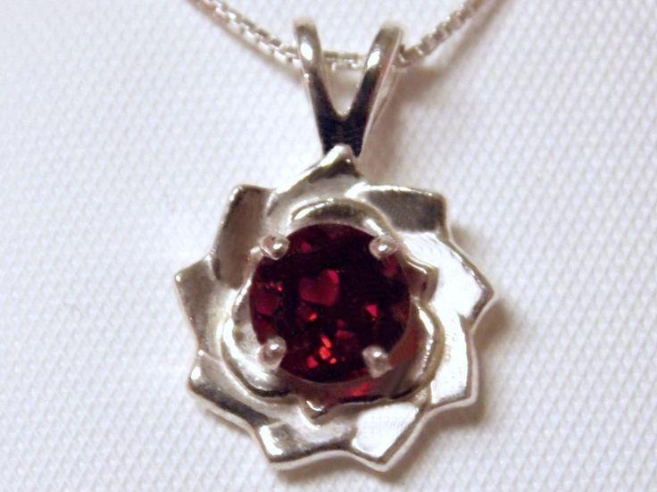 1ct NATURAL red Garnet flower pendant 925 sterling silver Italy chain USA    #Handmade #Pendant