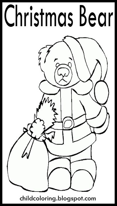 Christmas Drawings Bear Coloring Prints